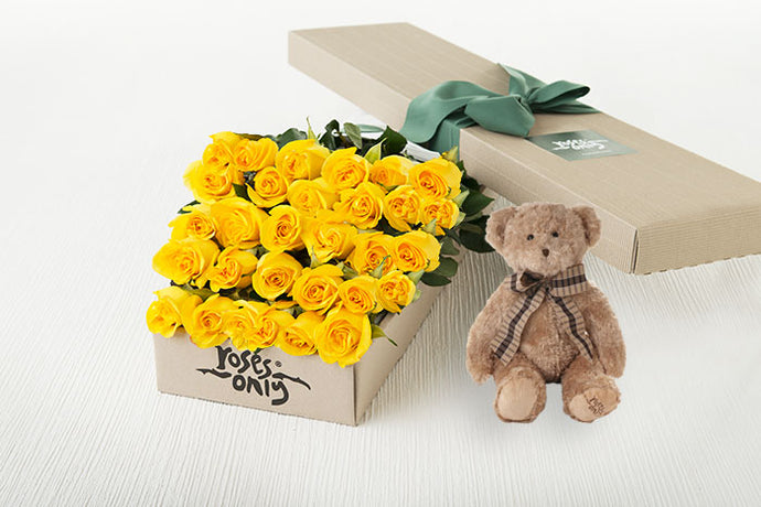 30 Yellow Roses Gift Box & Teddy Bear