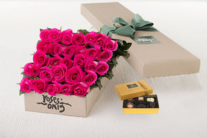 Bright Pink Roses Gift Box 30 & Chocolates