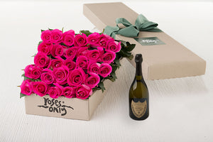 30 Bright Pink Roses Gift Box & Champagne