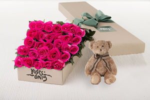 30 Bright Pink Roses Gift Box & Teddy Bear