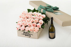 30 Pastel Pink Roses Gift Box & Champagne