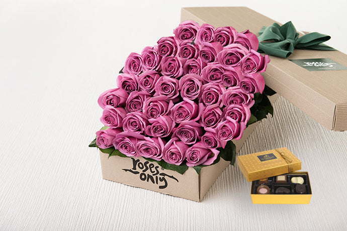 40 Mauve Roses Gift Box & Chocolates