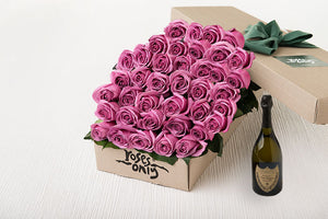 40 Mauve Roses Gift Box & Champagne