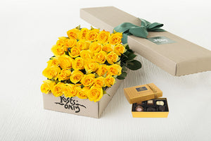 40 Yellow Roses Gift Box & Chocolates