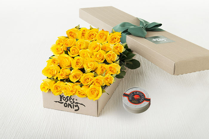 40 Yellow Roses Gift Box & Letao Petit Chocolates
