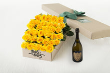 Yellow Roses Gift Box 40 & Champagne