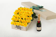 40 Yellow Roses Gift Box & Champagne