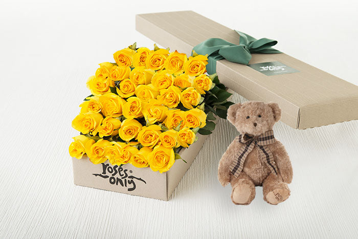 40 Yellow Roses Gift Box & Teddy Bear