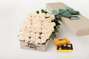 40 White Cream Roses Gift Box & Chocolates