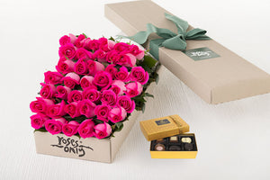40 Bright Pink Roses Gift Box & Chocolates
