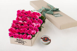 40 Bright Pink Roses Gift Box & Letao Petit Chocolates