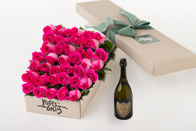 Bright Pink Roses Gift Box 40 & Champagne