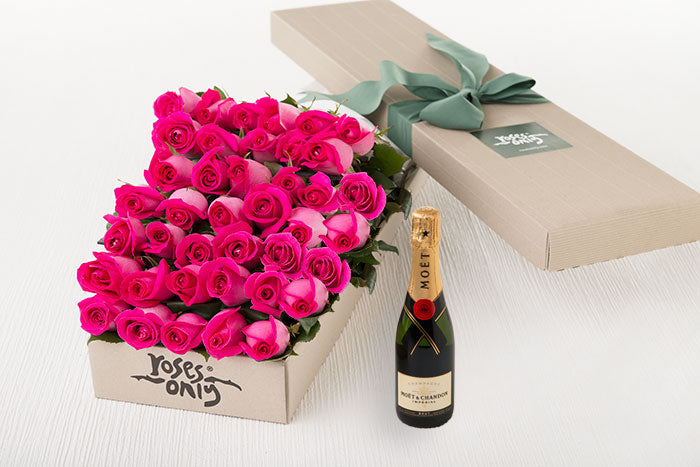 40 Bright Pink Roses Gift Box & Champagne