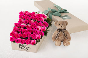 40 Bright Pink Roses Gift Box & Teddy Bear