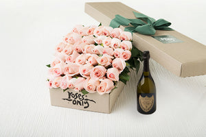 Pastel Pink Roses Gift Box 40 & Champagne