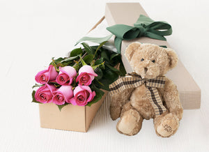 6 Bright Pink Roses Gift Box & Teddy Bear