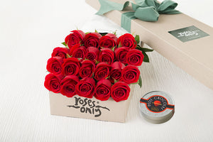 21 Red Roses Gift Box & Letao Petit Chocolates