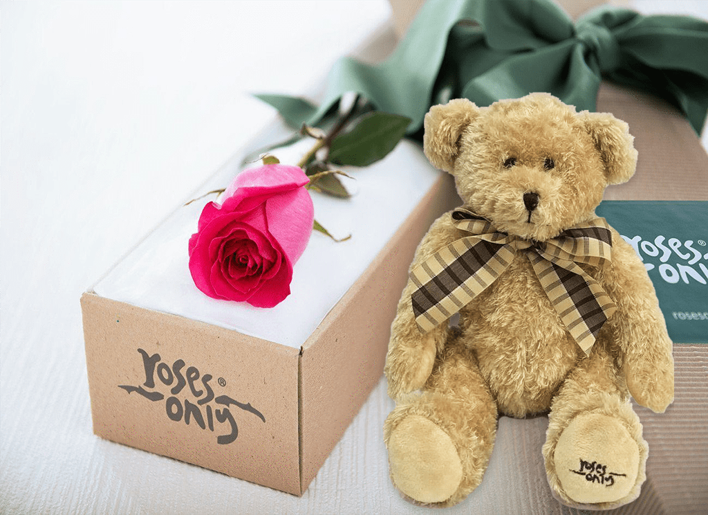 Single Bright Pink Rose Gift Box & Teddy Bear