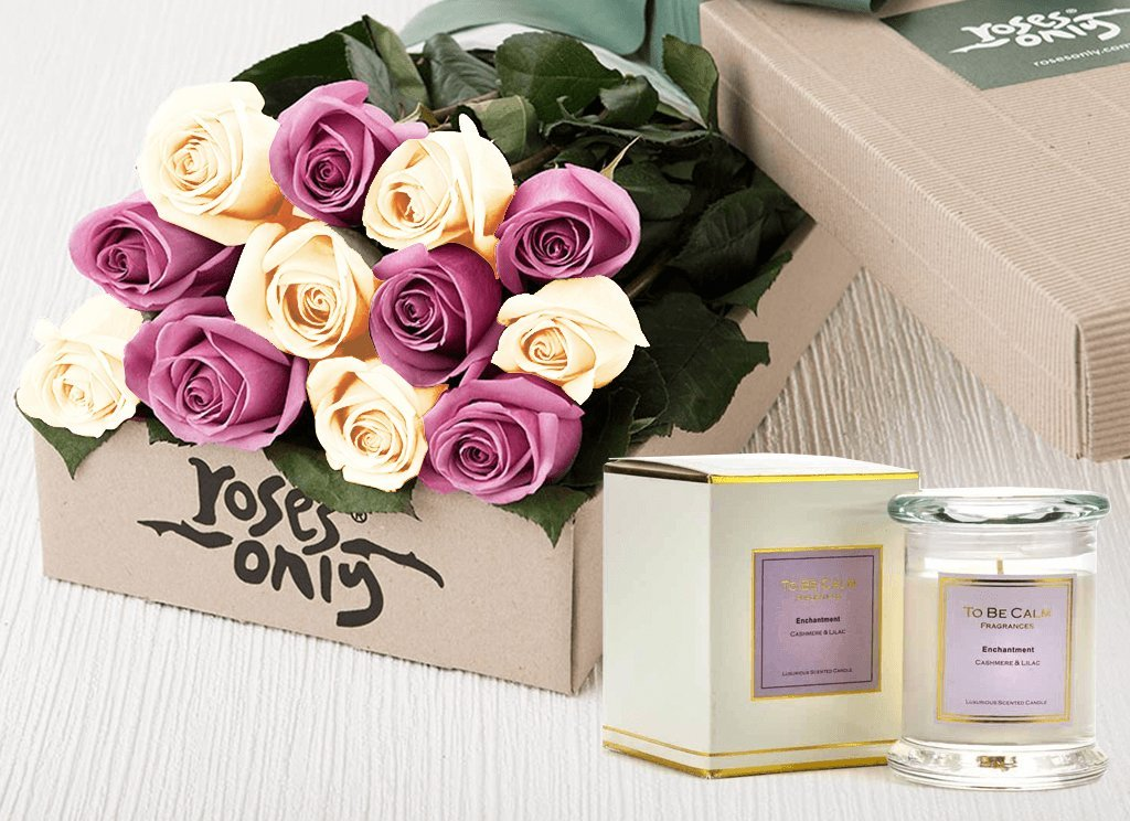 12 Mauve & White Roses Gift Box & Scented Candle