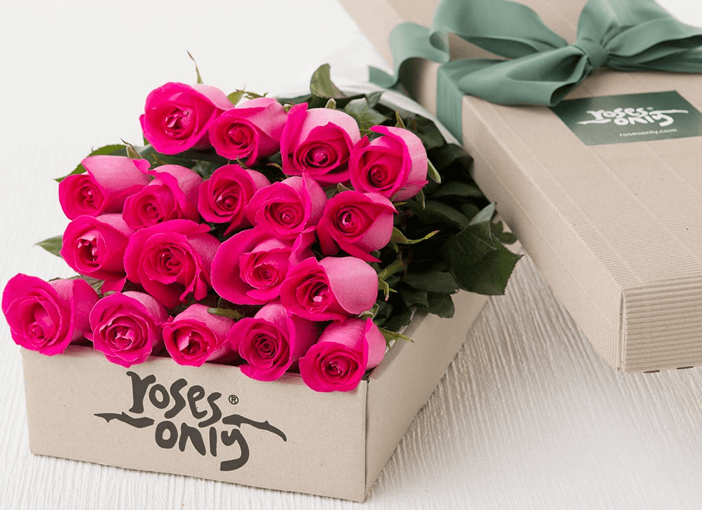 Mother's Day 18 Bright Pink Roses Gift Box