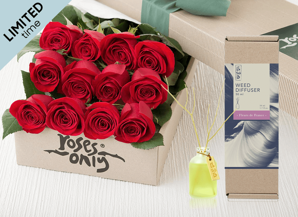 Mother's Day 12 Red Roses Gift Box & Rose Diffuser (50ml)