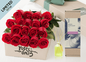 Mother's Day 18 Red Roses Gift Box & Rose Diffuser (50ml)