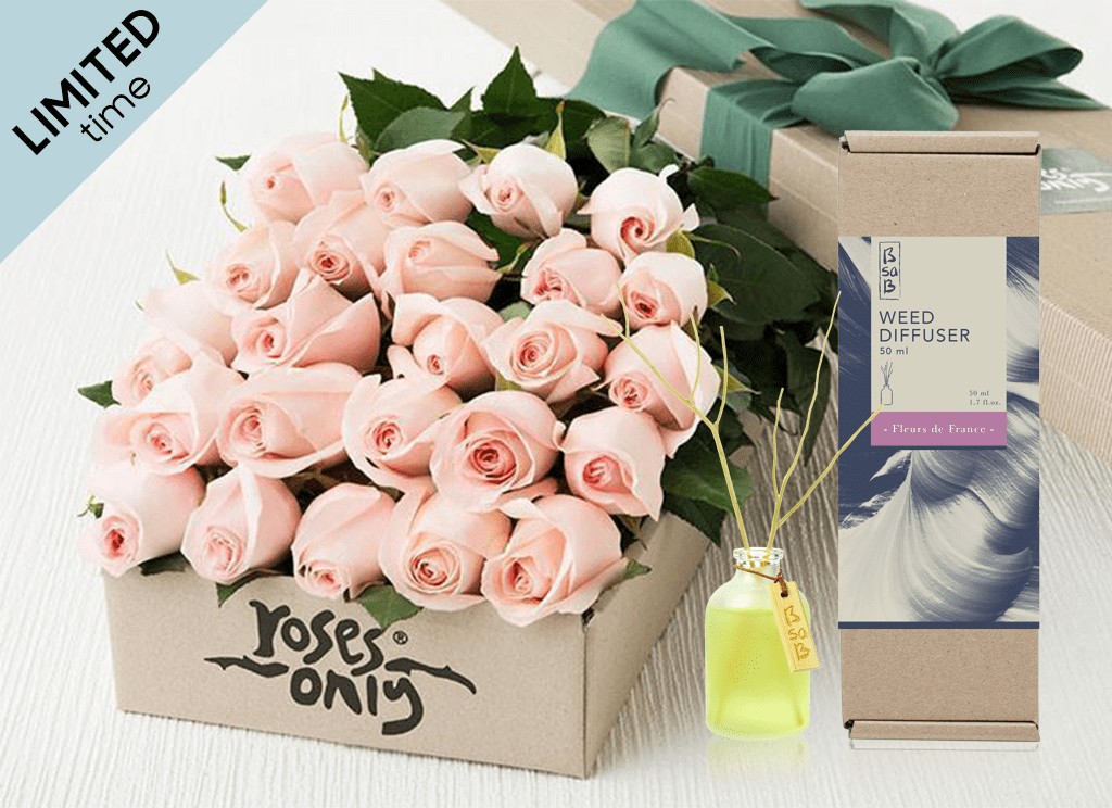 Mother's Day 24 Pastel Pink Roses Gift Box & Rose Diffuser (50ml)