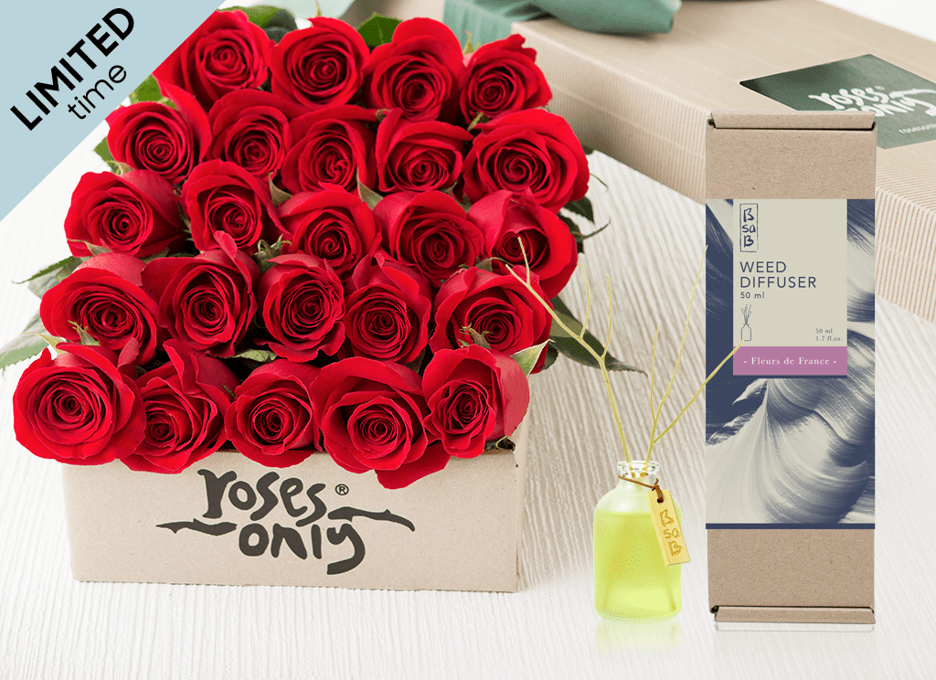 Mother's Day 24 Red Roses Gift Box & Rose Diffuser (50ml)