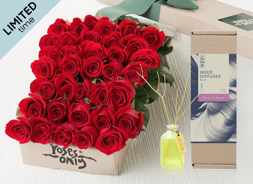 Mother's Day 36 Red Roses Gift Box & Rose Diffuser (50ml)