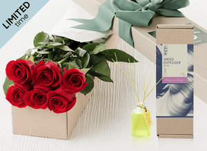 Mother's Day 6 Red Roses Gift Box & Rose Diffuser (50ml)