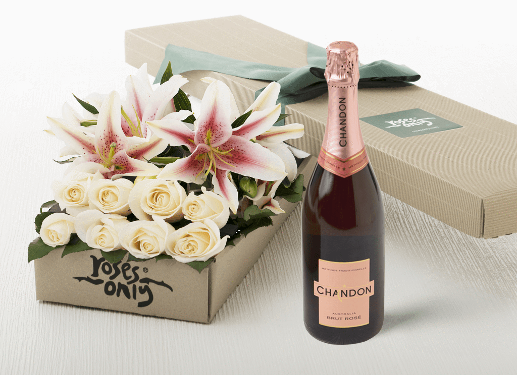 6 PINK LILIES & 6 WHITE CREAM ROSES GIFT BOX & CHANDON ROSE 750ML
