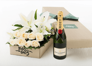 6 WHITE CREAM ROSES & 6 WHITE LILIES GIFT BOX + CHANDON BRUT IMPERIAL 750ML GIFT BOX