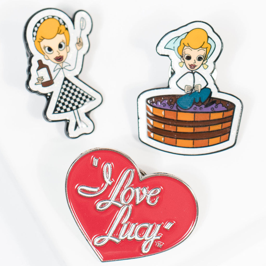 I Love Lucy x Unique Vintage: Grape Stomping & Vitameatavegamin Pin 3-Pack