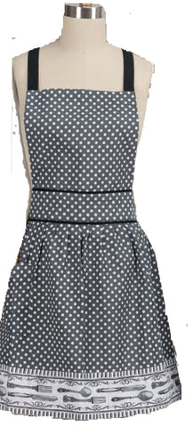 Lucy's Gray/White Dot Apron