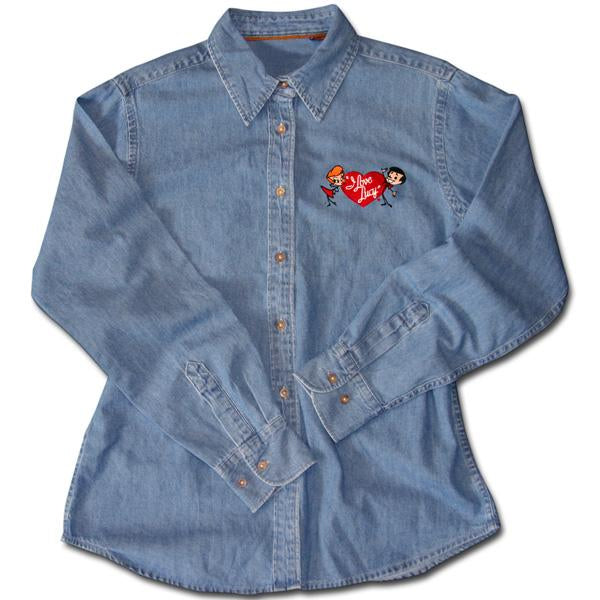 I Love Lucy: Lucy & Ricky Cartoon Embroidered Denim Shirt