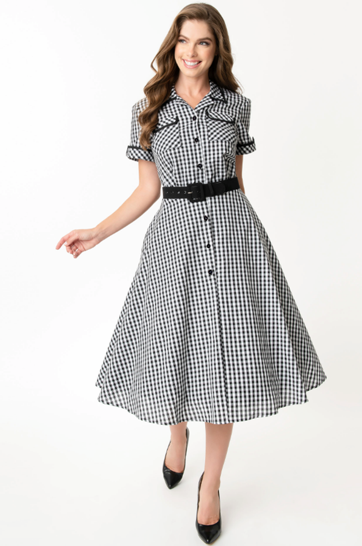 Black & White Gingham Ethel Swing Dress