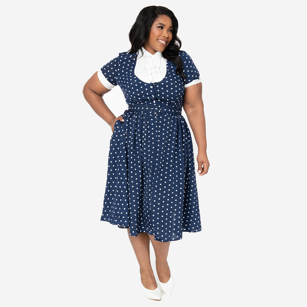 I Love Lucy x Unique Vintage: The Ricardo Polka Dot Swing Dress (Plus Sizing)