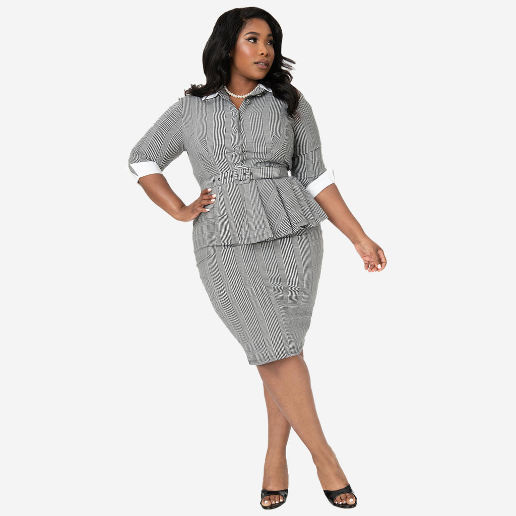I Love Lucy x Unique Vintage: Vitameatavegamin Houndstooth Pencil Dress (Plus Size)