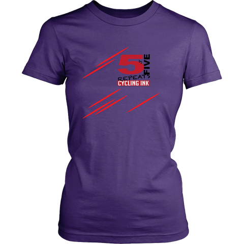 Five by five cycling t-shirt Cycling Ink Purple