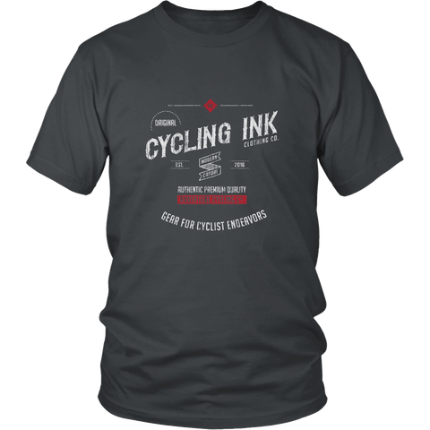 Cycling Ink Endeavor T-Shirt Tee for Cyclist Charcoal