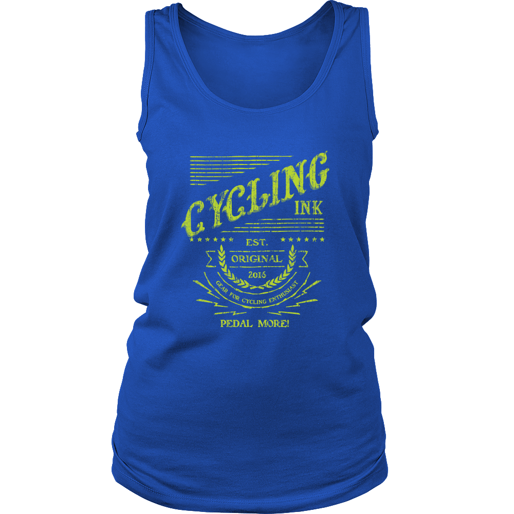 Cycling Ink Womens Tank Top Blue Cyclist