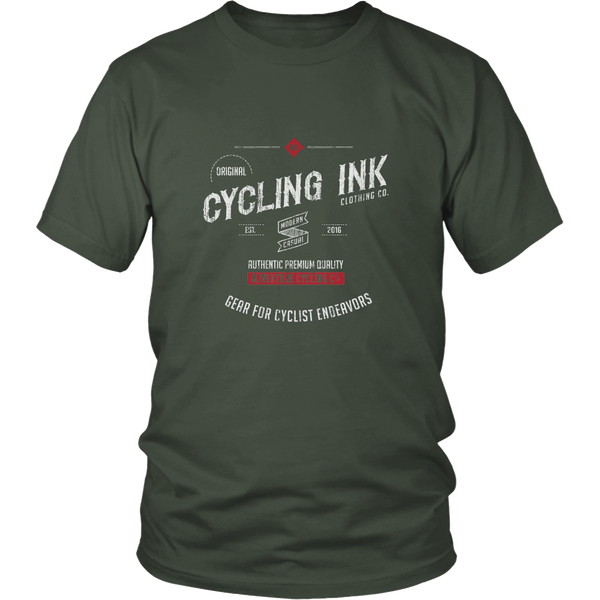 Cycling Ink Endeavor T-Shirt Tee for Cyclist Olive