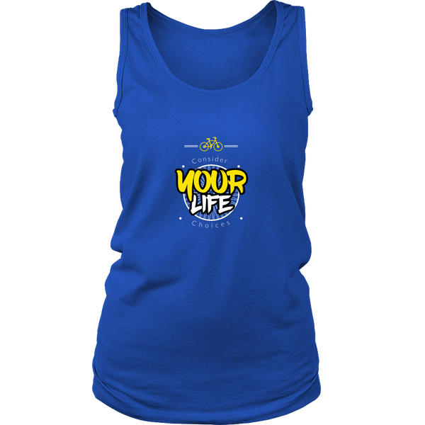 Consider your life choices cycling tank top blue