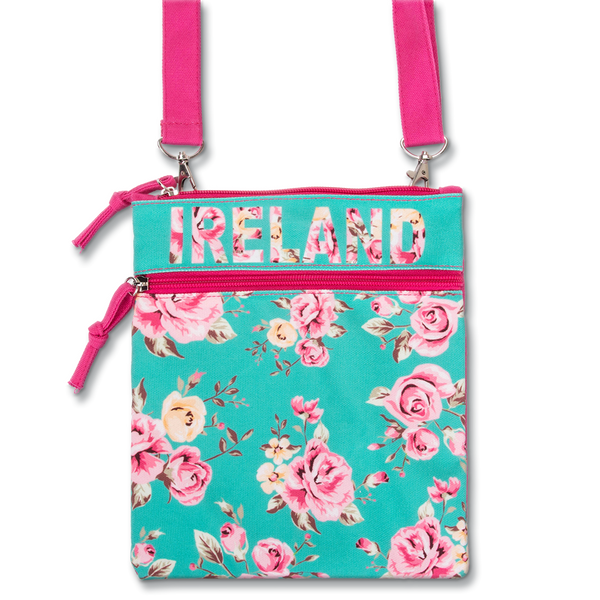 Ireland Passport Floral Bag - White, Teal or Black