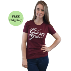Galway Girl T-Shirt Maroon/White