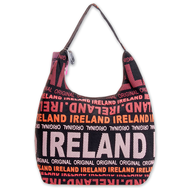Ireland Canvas Shoulder Bag - Black/Red