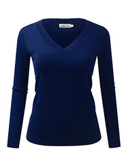 BILY Women's Classic V-Neck Slim Fit Soft Pullover Long Sleeve Sweater