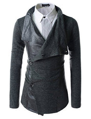 (GD93) Slim Stylish Unbalanced Metallic Leather Point Knitted Cardigan Sweaters
