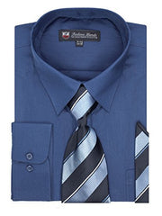 Fortino Landi Men's Long Sleeve Dress Shirt, Tie And Hanky Set - Many Colors