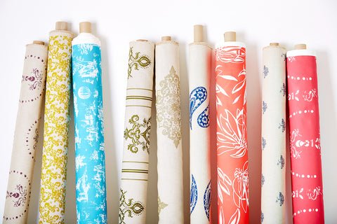 fabric rolls with paintbox collection design by Nikki Szabo